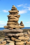 Beach cairn, Holy Island, England by Dave Banks